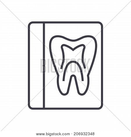 tooth record, medical dentist report vector line icon, sign, illustration on white background, editable strokes
