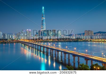 Seoul. Cityscape image of Seoul and Han River during twilight blue hour.