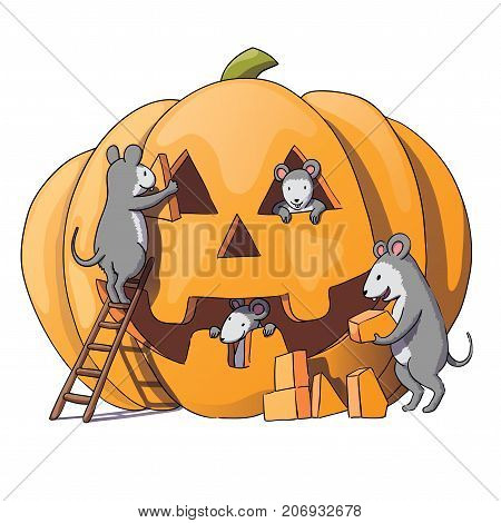 Cute mice characters prepare for Halloween. Sly gray mouse, rat. pumpkin.Isolated on white background. Vector illustration
