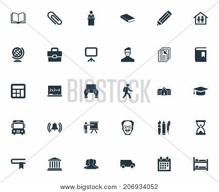 Elements Courthouse, Student, Paperclip And Other Synonyms Suitcase, Pencil And Lesson.  Vector Illustration Set Of Simple Knowledge Icons.