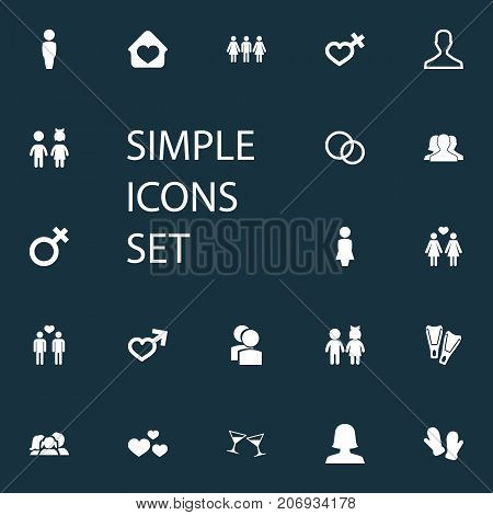 Elements Woman, Dissolve The Marriage, Children And Other Synonyms Gentleman, Love And Wife.  Vector Illustration Set Of Simple Beloved Icons.