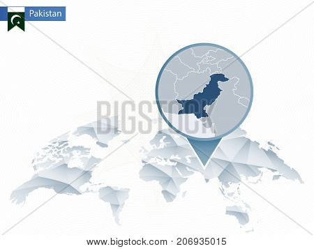Abstract Rounded World Map With Pinned Detailed Pakistan Map.