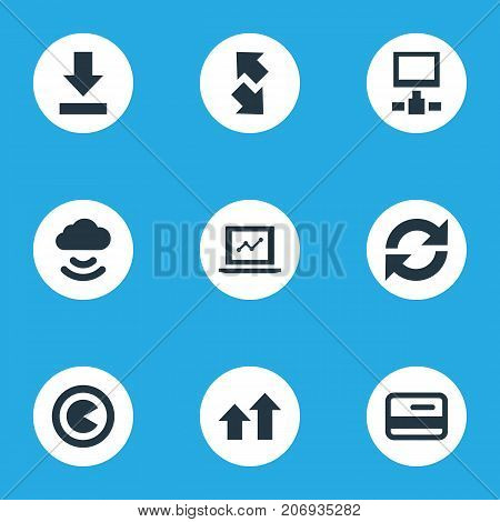 Elements Plastic Money, Downloading, Increase And Other Synonyms Cloud, Update And Downloading.  Vector Illustration Set Of Simple Analysis Icons.