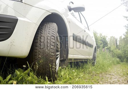The car came to the forest and stands on the grass near the dirt path among the trees in the summer.