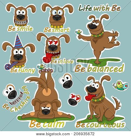 Funny illustrations from the life of a cheerful dog named Be. One.