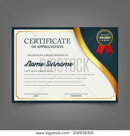 Creative certificate of appreciation award template. Certificate template design with best award symbol and blue and golden shapes and badge. isolated on background. Vector illustration. Eps 10.