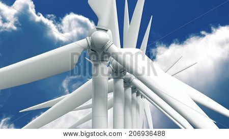 Many wind power generators on sky background. 3d rendering