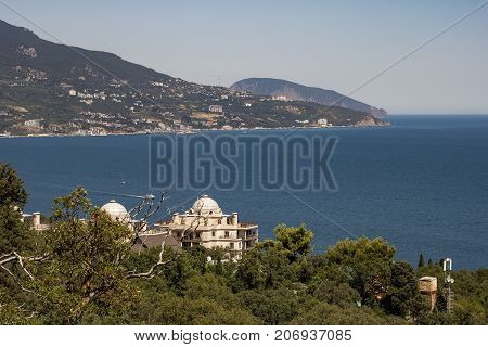 View From The Height Of The Resort Town Of Yalta And The Black Sea From The Mountains Of Ai-petri