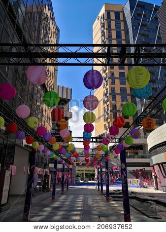 ZHONGSHAN GUANGDONG CHINA-Oct 22017:Colorful paper lanterns hanging in shopping mall for mid autumn festival & national holidays. OCT 4 is the Mid Autumn Festival and Oct 1 to 8 is the National holidays.