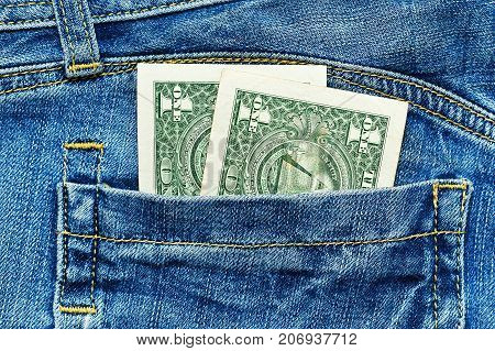 Two Dollar Notes In Jeans Pocket
