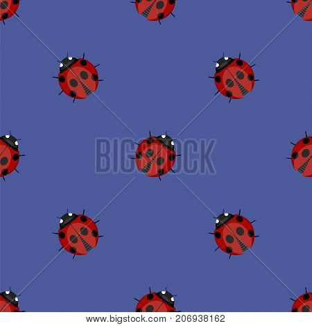Ledybag Seamless Pattern on Blue Background. Ladybird Texture