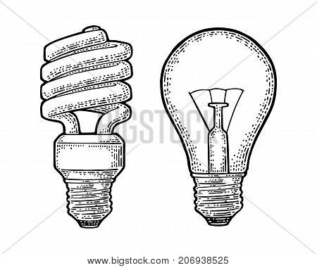 Energy saving spiral lamp and glowing light incandescent bulb. Vector vintage black engraving illustration on white background