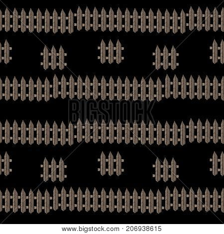 Embroidery stitches imitation seamless pattern with little fence. Vector embroidery isolated fence on black background. Embroidery background.