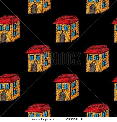 Embroidery stitches imitation seamless pattern with little house. Vector embroidery isolated house on black background. Embroidery house.