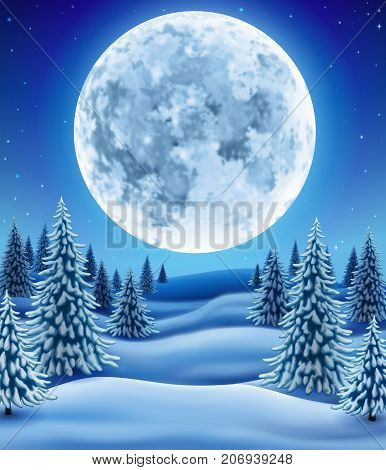 Winter landscape with moon background for christmas and new year greeting illustration with pine trees in snow EPS 10 contains transparency.
