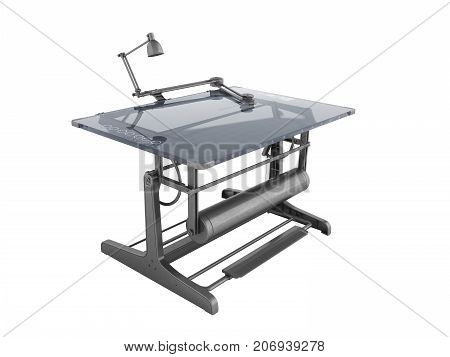 Electronic Drawing Table For Drawing With Regulators 3D Rendering On A White Background No Shadow