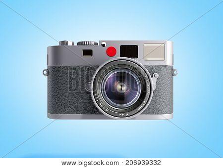 Old Photo Camera 3D Render On Blue Background