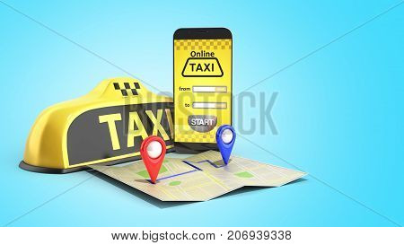 Ordering A Taxi Cab Online Internet Service Transportation Concept Navigation Pin Pointer With Check