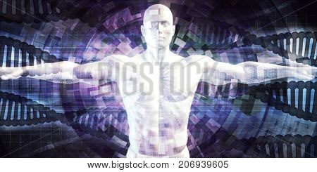 Biotechnology of the Future Abstract as Art 3D Illustration Render
