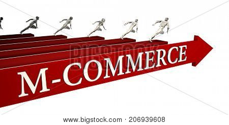 M-commerce Solutions with Business People Running To Success 3D Illustration Render