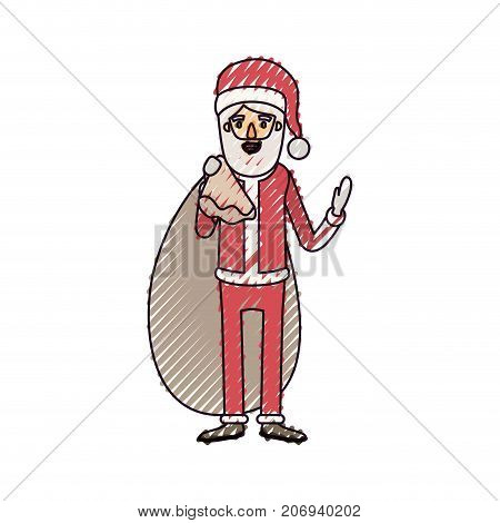santa claus caricature full body with gift bag hat and costume on color crayon silhouette on white background vector illustration