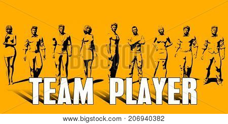 Team Player Concept With Business Professionals Standing in a Row