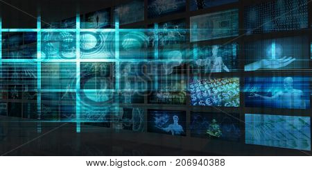 Futuristic Background Abstract Technology Theme Concept Art 3D Illustration Render