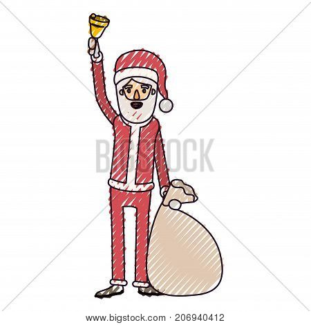 santa claus caricature full body holding a hand bell and gift bag with hat and costume on color crayon silhouette on white background vector illustration