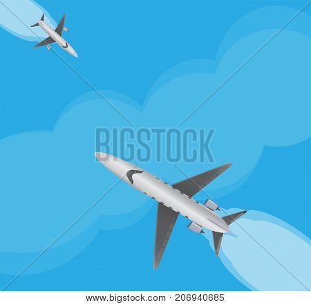 Top View  Of Small Private  Jet Airplane Over Blue Sky