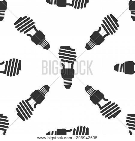 Energy saving light bulb icon seamless pattern on white background. Flat design. Vector Illustration