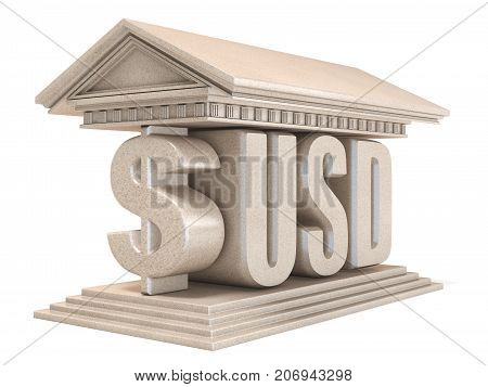Dollar Usd Currency Sign Temple 3D