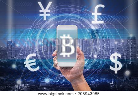 holding smart phone showing the financial technology with block chain over the innovation technology virtual screen on cityscape background US dollar and other currencybusiness Fin tech concept, 3D illustration