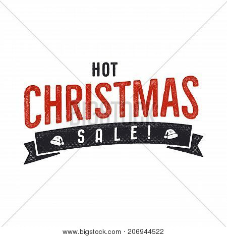 Hot Christmas sale lettering and typography elements. Holiday Online shopping type quote. Stock vector illustration isolated on white background.