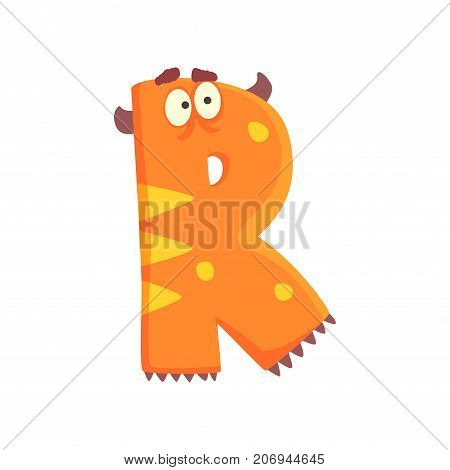 Illustration of character orange surprised monster letter R Funny education Strange animal font Cartoon monster alphabet with horns for kids Children s print or poster design Vector isolated on white.
