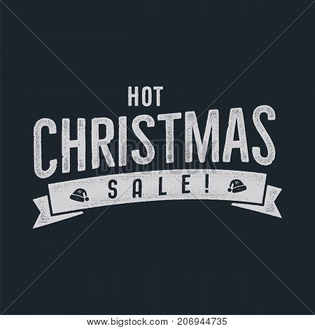 Hot Christmas sale lettering and typography elements. Holiday Online shopping type quote. Stock vector illustration isolated on dark background.