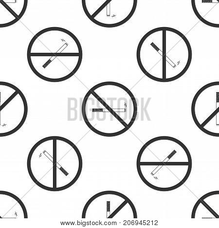 No Smoking sign icon. Cigarette symbol icon seamless pattern on white background. Flat design. Vector Illustration