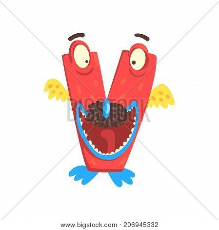 Illustration of character red bird monster letter V for funny education. Strange animal font. Cartoon monster alphabet with wings for kids. Children s print or poster design. Vector isolated on white
