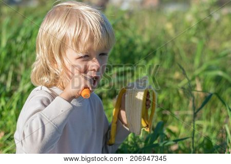 Blond Slavic Baby boy eats carrot and banana sitting on grass during outing at a summertime - healthy feeding