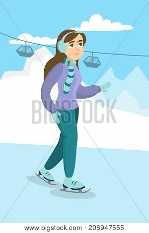 Woman ice skating. Young happy smiling character on ice doing sport.