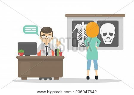 Doctor with x-ray. Man sitting at the cabinet with nurse and x-ray.