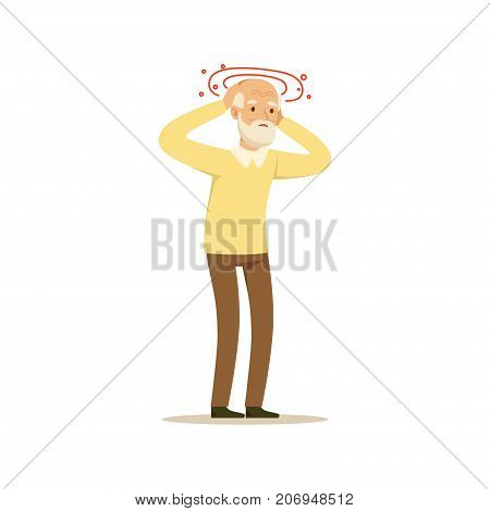 The image shows an aged man is feeling dizzy and his head is spinning. He is wearing a yellow sweater and brown trousers.