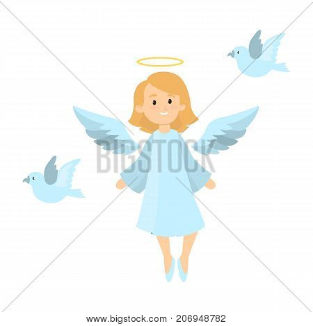 Angel with pigeons on white background. Blond angel with wings and nimbus.