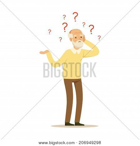 The image shows aged person who is confused and not sure what is going on.