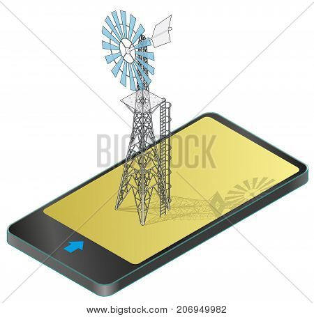 Outlined wind pump for pumping of water on farm in mobile phone. Home wind power plant for power generation in communication technology. Industrial agriculture building.Windmill illustration.