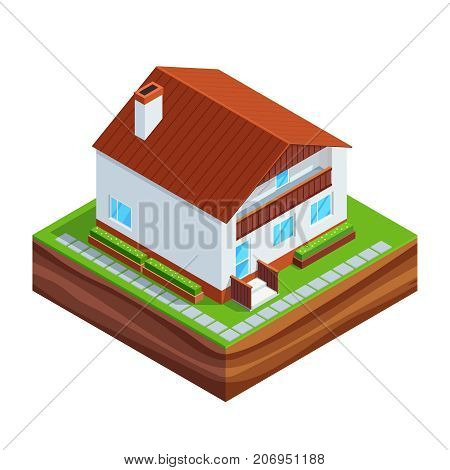 Isometric concept of building a house. 3d house full construction Isolated on white background. House construction phases. Vector illustration.