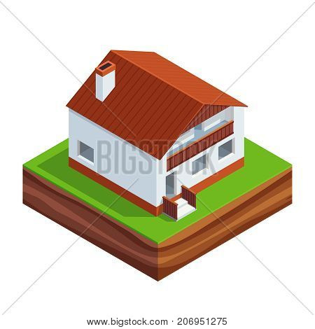 Isometric concept of building a house. 3d two-storey house with roof Isolated on white background. House construction phases. Vector illustration.