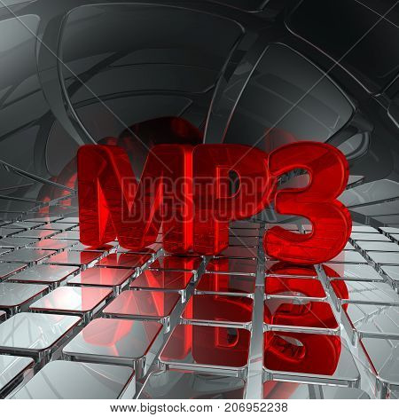 mp3 tag in abstract futuristic space - 3d rendering
