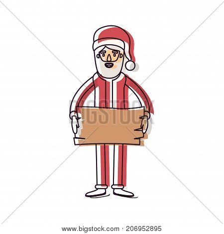 santa claus caricature full body holding a wooden piece with hat and costume watercolor silhouette on white background vector illustration
