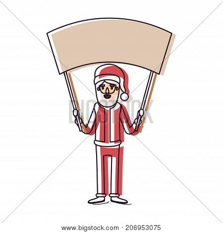 santa claus caricature full body holding a empty poster advertising with hat and costume watercolor silhouette on white background vector illustration