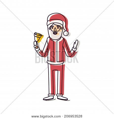 santa claus caricature full body holding a bell with hat and costume watercolor silhouette on white background vector illustration